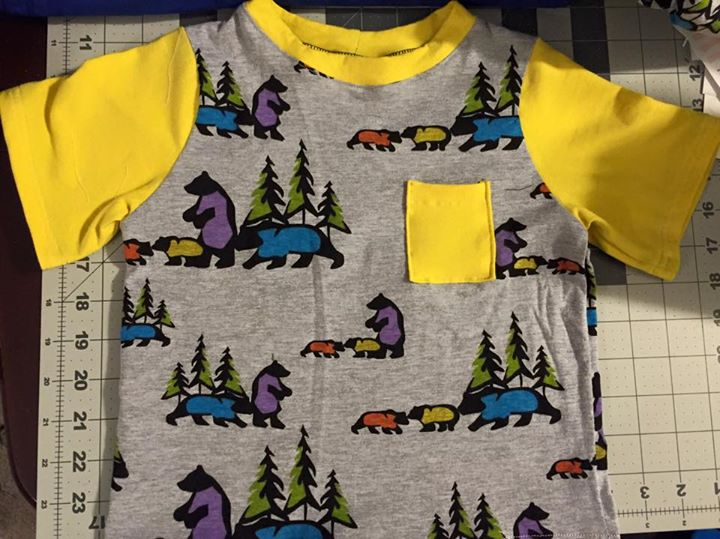 One of my more recent creations: a colorful bear-print t-shirt for one of my sons.