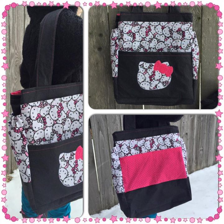 A fun Hello Kitty-themed craft bag I made as a gift for a friend's daughter on her birthday.